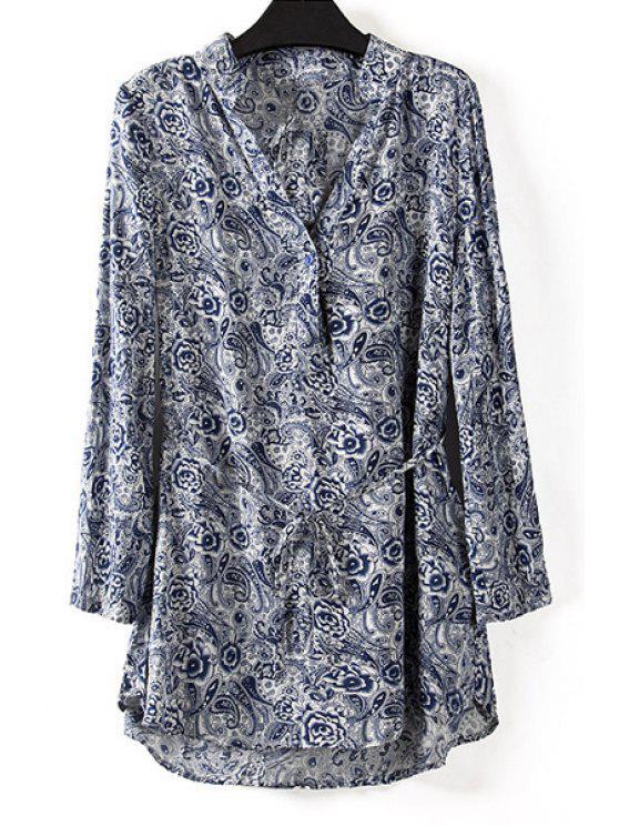 hot Full Floral V Neck Long Sleeve Blouse - DEEP BLUE M