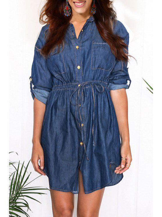 buy Blue Turn Down Collar Long Sleeve Denim Shirt - BLUE S