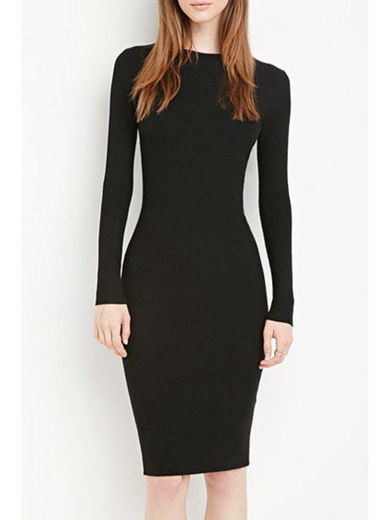 chic Solid Color Bodycon Midi Dress - BLACK S