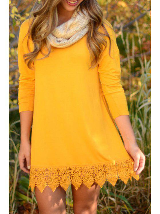 unique Yellow Lacework Long Sleeve Dress - YELLOW S