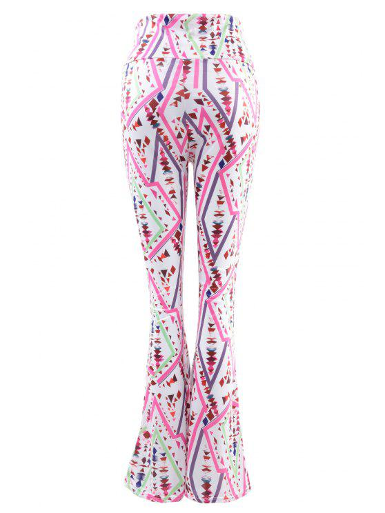 chic Geometric Print Flare Pants - COLORFUL S