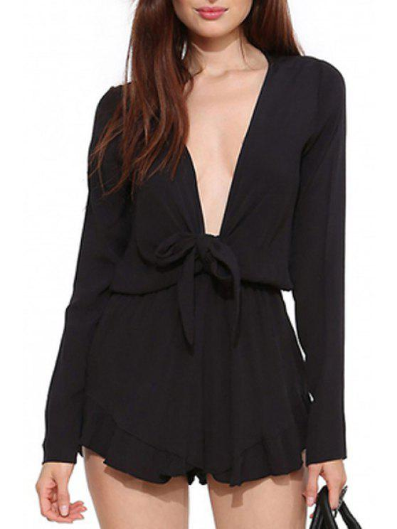 sale Plunging Neck Long Sleeve Chiffon Black Playsuit - BLACK S