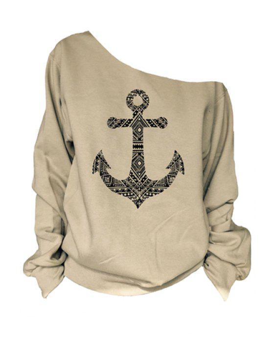 best One-Shoulder Anchor Print T-Shirt - KHAKI M
