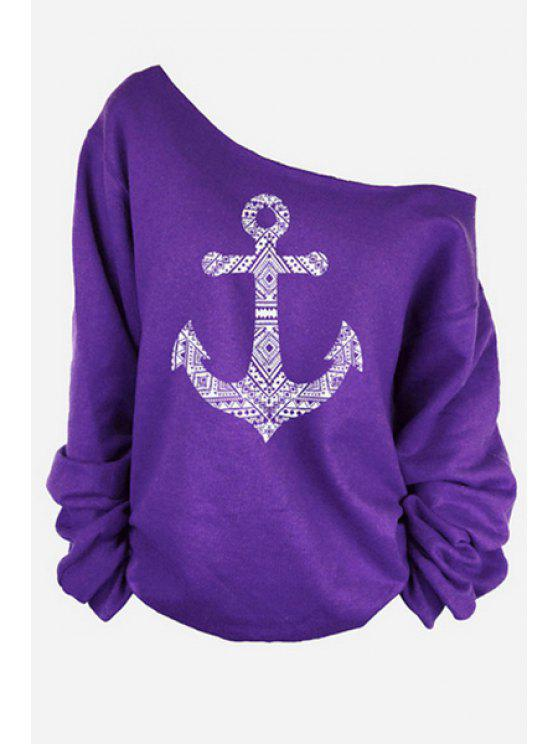 fancy One-Shoulder Anchor Print T-Shirt - PURPLE XL