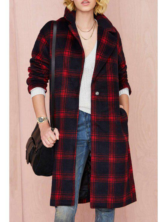 shops Red Checked Lapel Long Sleeve Coat - RED XS
