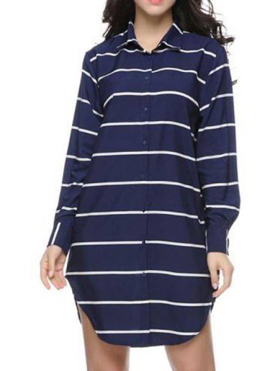 best Single-Breasted Striped Long Shirt - BLUE S