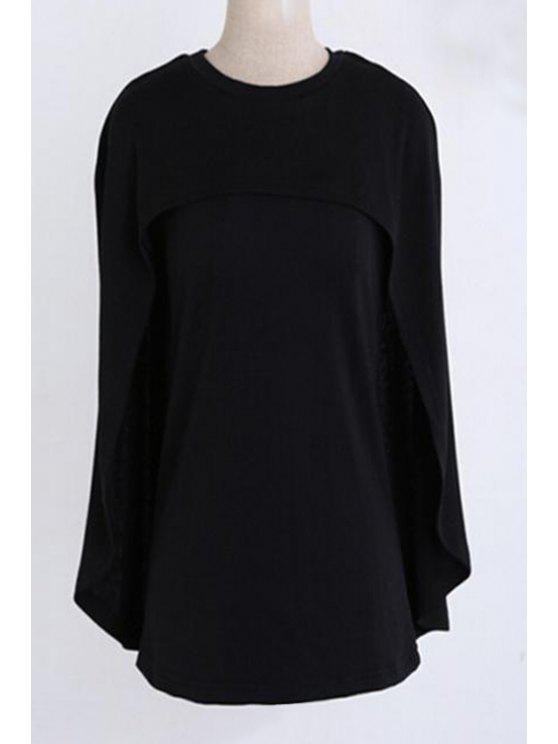 Jewel Neck Cape Design Pull noir - Noir 2XL