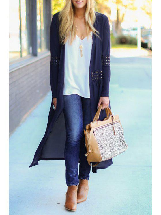 ladies Chiffon Beaded Loose Fitting Solid Color Cover Up - PURPLISH BLUE S