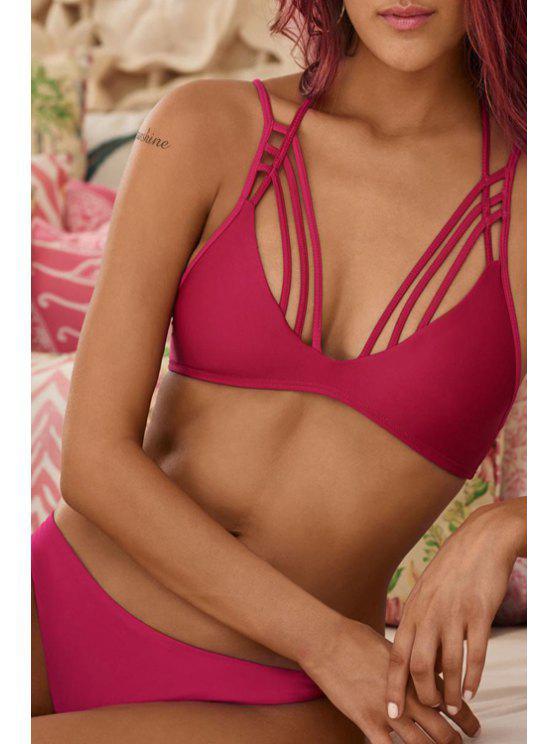 chic Pure Color Cami Bikini Set - ROSE S