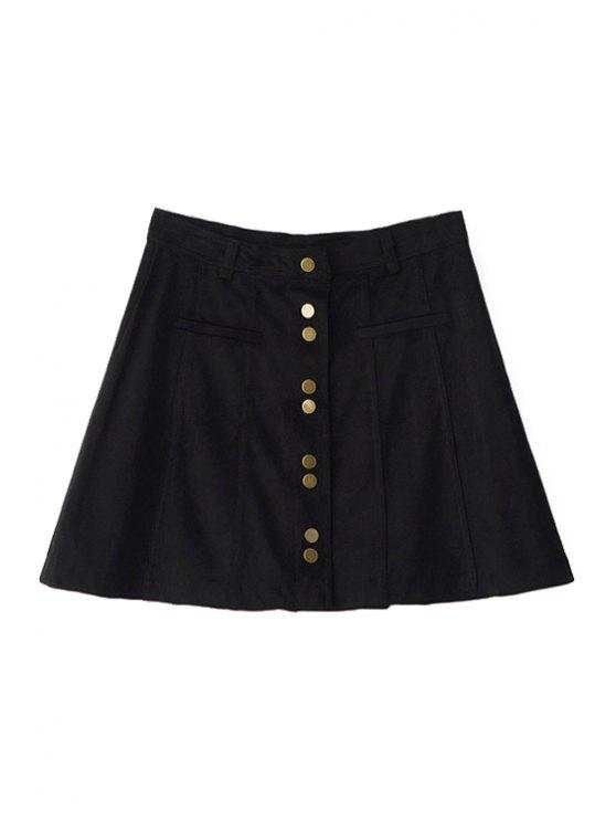new A-Line Single-Breasted Suede Skirt - BLACK S