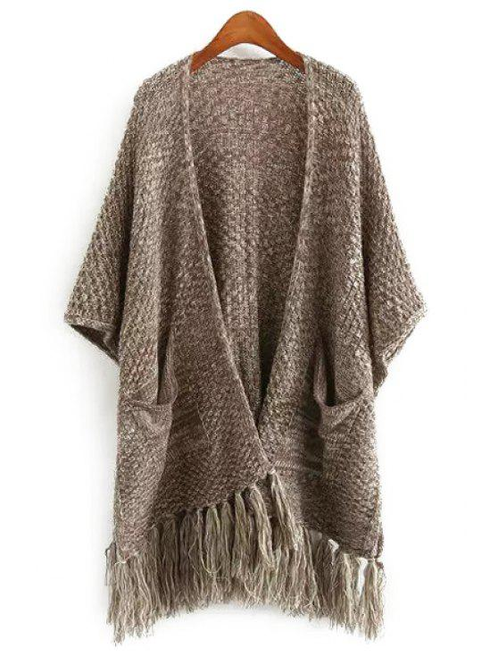 womens Open Front Tassel Two Pockets Cardigan - KHAKI ONE SIZE(FIT SIZE XS TO M)