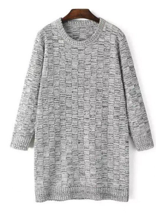 unique Long Sleeve Checked Jacquard Sweater - LIGHT GRAY ONE SIZE(FIT SIZE XS TO M)