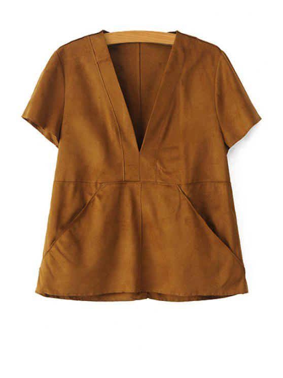 fashion V-Neck Short Sleeve Suede Blouse - BROWN XS