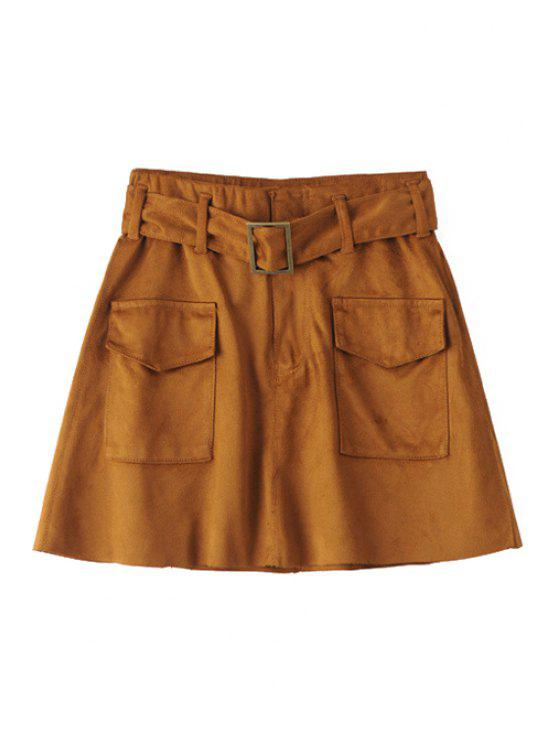 shop Two Pockets Belted Suede Skirt - BROWN XXS