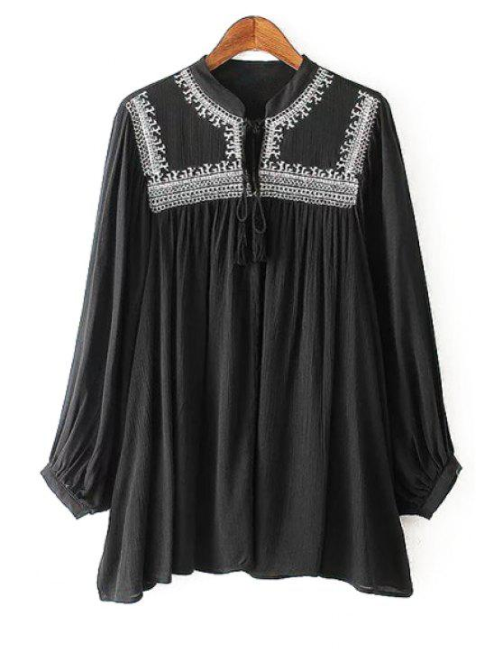 womens Stand Neck Embroidered Lace-Up Blouse - BLACK S