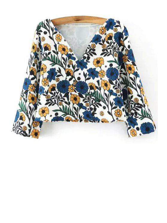 latest 3/4 Sleeve Floral Print Crop Top - WHITE S