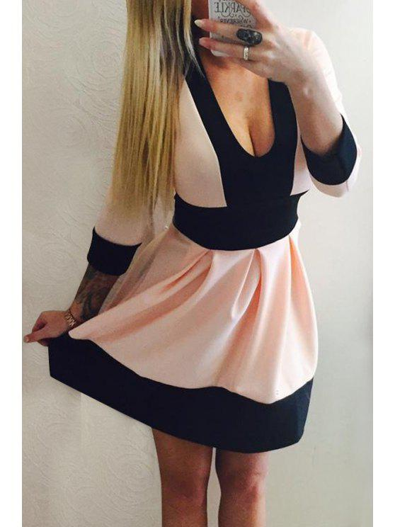buy Color Block Plunging Neck 3/4 Sleeve Dress - BLACK AND PINK S