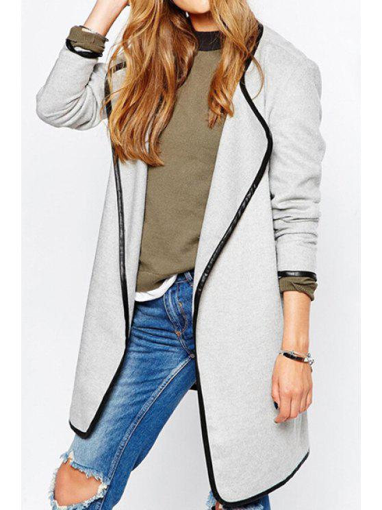 women Color Block Turn Down Neck Long Sleeve Coat - WHITE L