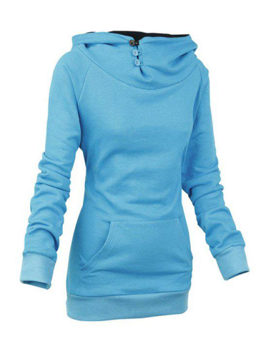 women Heaps Collar Solid Color Sweatshirt - BLUE M