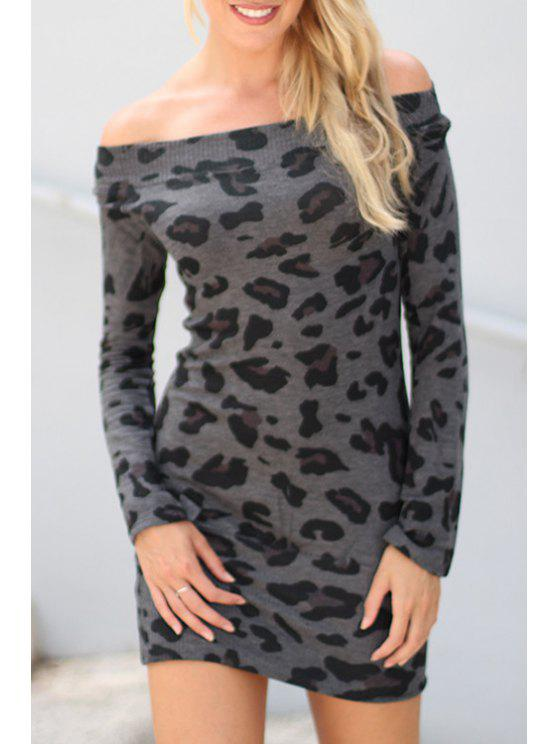 womens Off-The-Shoulder Leopard Bodycon Dress - DEEP GRAY XL