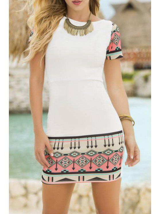ladies Short Sleeve Printed Bodycon Dress - WHITE L