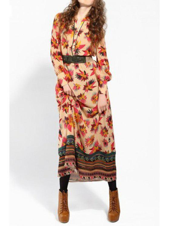 chic Single-Breasted Leaf Print Dress - KHAKI M