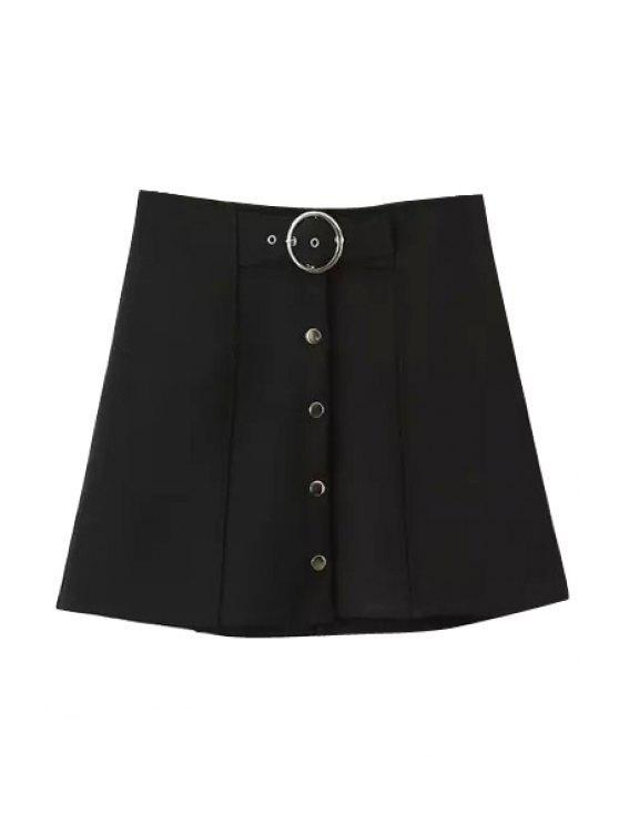 unique Black High Waist A Line Skirt - BLACK S