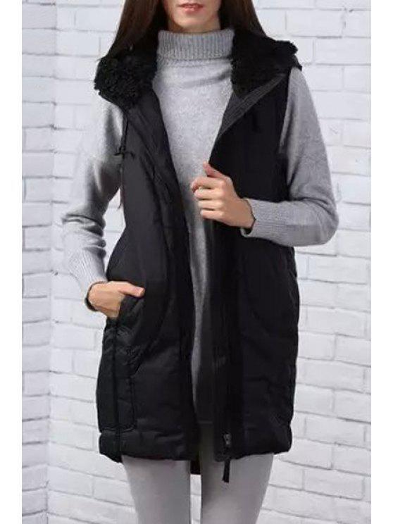 womens Pure Color Hooded Sleeveless Waistcoat - BLACK M