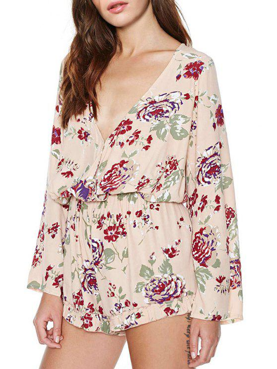 ladies Back Lace-Up Floral Print Plunging Neck Romper - PINK XS