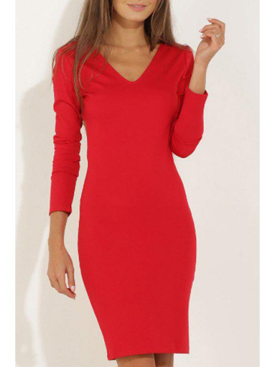 ladies Long Sleeve Backless Red Club Dress - RED S