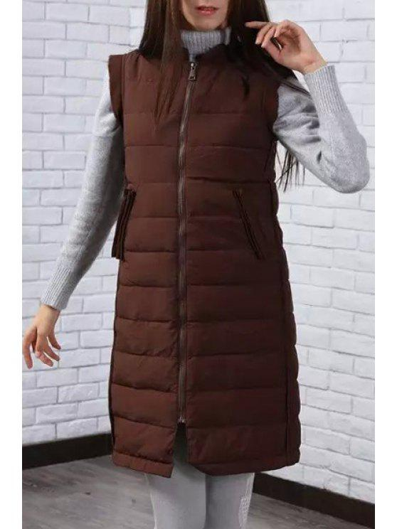 outfit Pure Color Stand Neck Zipper Waistcoat - BROWN M