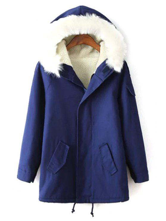 outfit Faux Lamb Wool CHooded Long Sleeve Coat - BLUE M