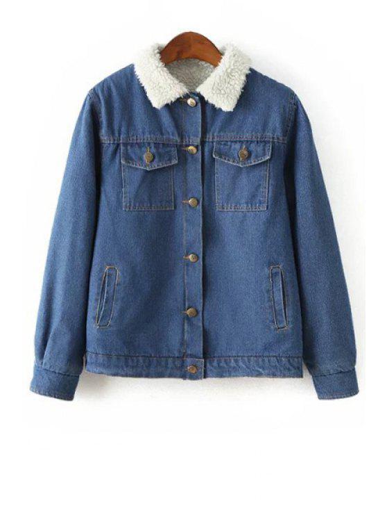 fashion Faux Lamb Wool Turn Down Collar Jacket - BLUE S