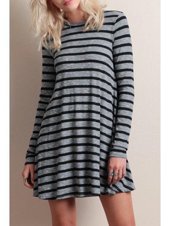 new Long Sleeve Striped A-Line Dress - GRAY S