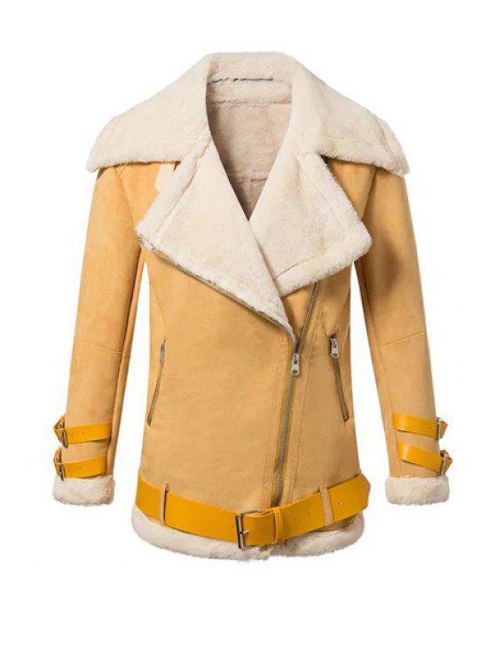 sale Faux Suede Lapel Long Sleeve Jacket - YELLOW S