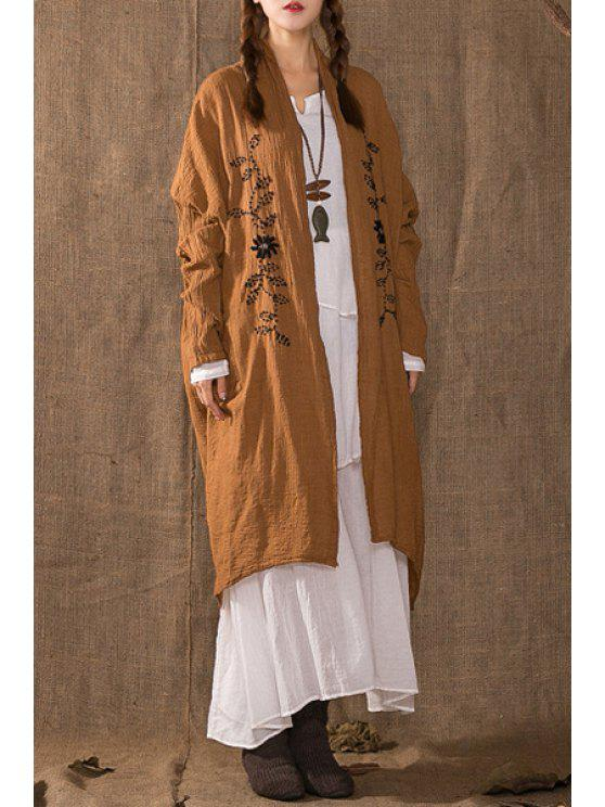 lady Embroidery Print Long Batwing Sleeves Long Coat - EARTHY ONE SIZE(FIT SIZE XS TO M)