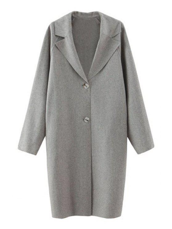 shops Pure Color Lapel Collar Long Sleeves Coat - GRAY S