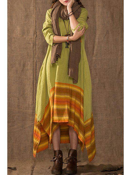 lady Plaid Print Irregular Hem Round Collar Long Sleeves Dress - GREEN ONE SIZE(FIT SIZE XS TO M)