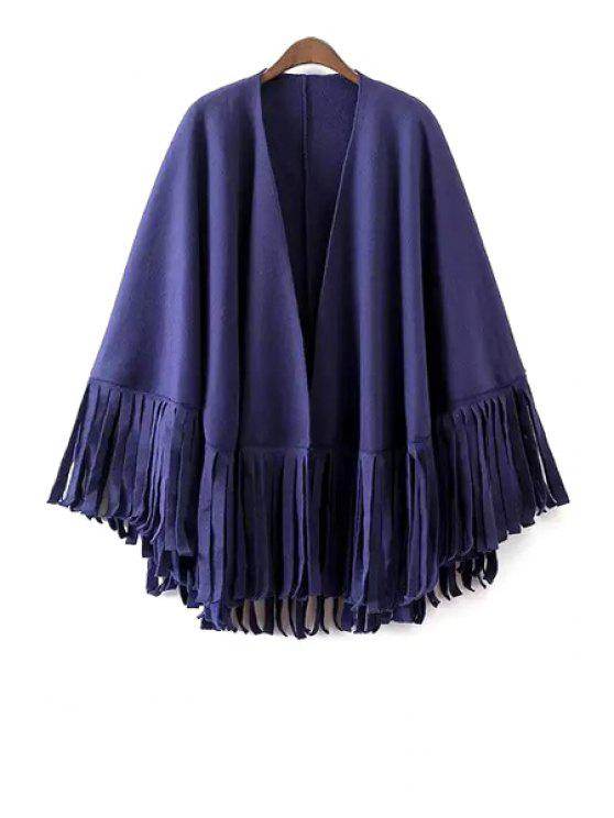 womens Pure Color Tassels Cape Coat - BLUE ONE SIZE(FIT SIZE XS TO M)