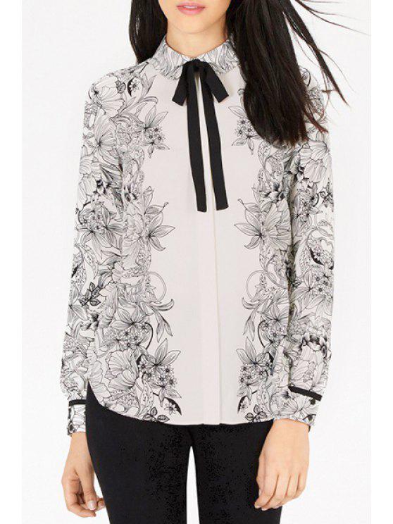 online Full Floral Turn Down Collar Long Sleeve Shirt - WHITE S