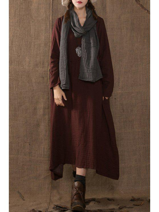 online Solid Color Rope Embellishment Long Sleeves Dress - CLARET ONE SIZE(FIT SIZE XS TO M)