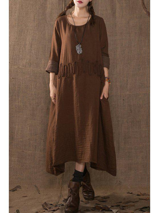 new Solid Color Rope Embellishment Long Sleeves Dress - COFFEE ONE SIZE(FIT SIZE XS TO M)