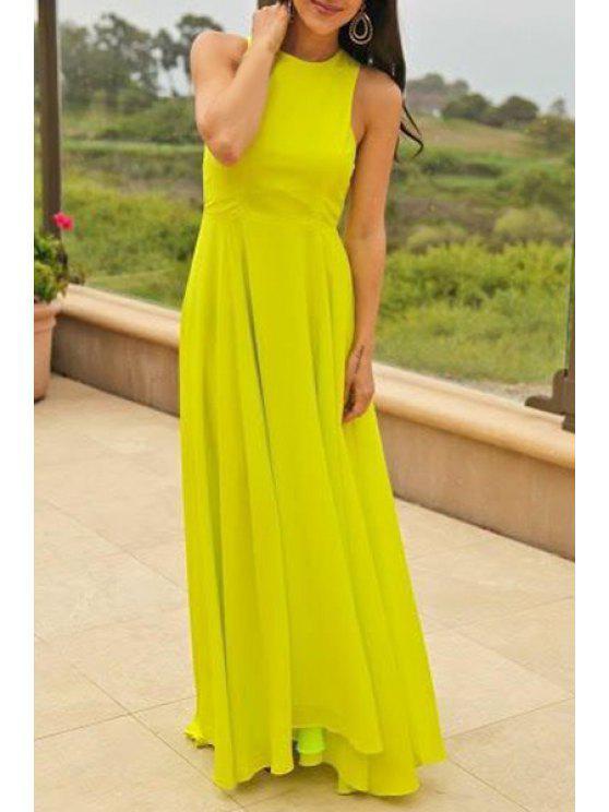 women's Pure Color Round Neck Sleeveless Maxi Dress - NEON GREEN S