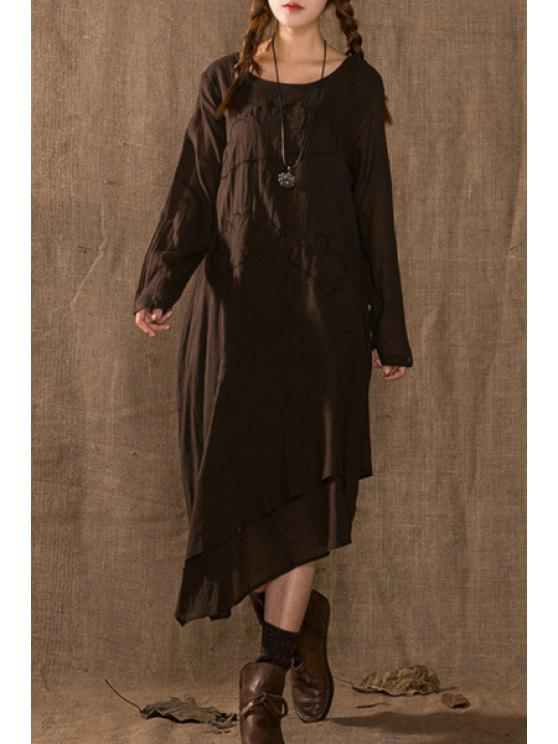shop Solid Color Embroidery Flower Round Collar Long Sleeves Dress - COFFEE ONE SIZE(FIT SIZE XS TO M)