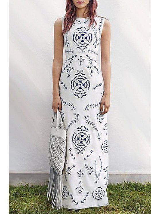 trendy Print Round Collar Sleeveless Maxi Dress - WHITE S