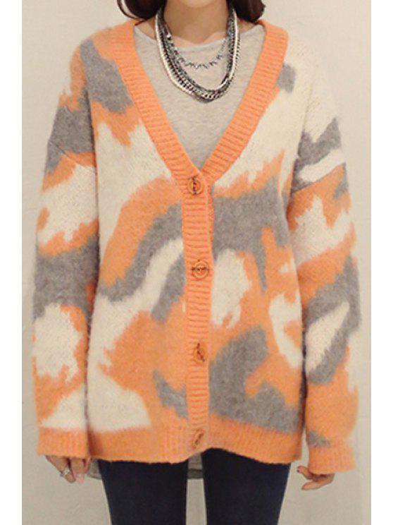 best Camouflage Pattern Long Sleeves Cardigan - ORANGE S