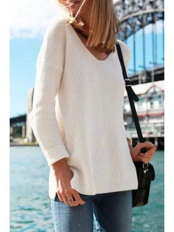 lady Back Cross Halter Solid Color Scoop Neck Sweater - WHITE ONE SIZE(FIT SIZE XS TO M)