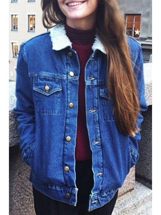 trendy Faux Fur Flat Collar All Match Denim Thicken Coat - BLUE XXS