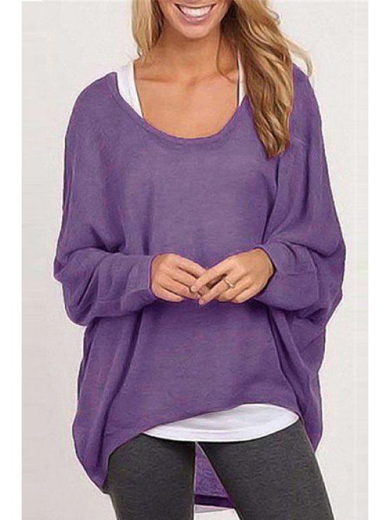 lady Loose-Fitting Solid Color Scoop Neck Long Sleeves Sweater - VIOLET M