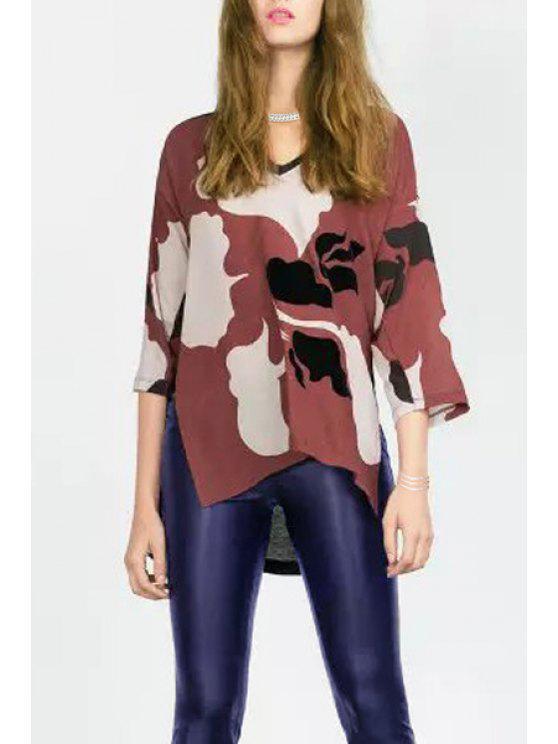 online Side Slit Floral Print V-Neck 3/4 Sleeves T-Shirt - BROWN S